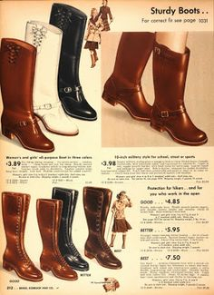 From Tuppence Ha'penny: Vintage Winter Shoes.  Great 40s boots reference in this advert.