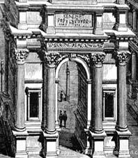 Arco del triunfo:  Monumento destinado a conmemorar acontecimientos importantes, especialmente los efectuados por emperadores. Está formado por dos pilares que se unen por medio de un arco de medio punto, sobre el cual reposa el ático