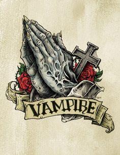 Praying Hands Tattoo, Vampire Love, Vampires And Werewolves, Classic Monsters, Flash Art, Monster Art, Monster Hunter, Dark Ages, Traditional Tattoo