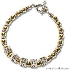 Gold Filled & Bali Mommy Bracelet This Mommy Bracelet features sterling silver letter blocks accented with smooth 14K gold filled beads and sterling silver Bali bead spacers.