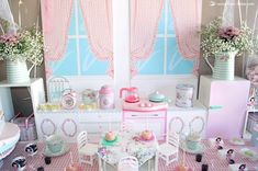 The vintage kitchen with lots of Greengate tableware