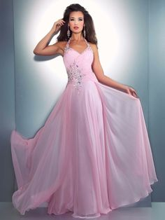 Photo 1 for Chiffon Halter Floor Length Beading Pleated Evening Party Dress/Prom Gown. Pink Gowns, Pink Prom Dresses, Pretty Dresses, Homecoming Dresses, Pink Dress, Sequin Dress, Matric Dance Dresses, Prom Dress 2013, Dresses 2013