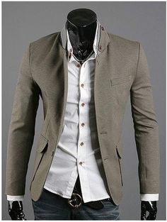 Men's Single Breasted Contrast Collar Blazer