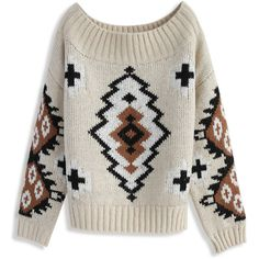Chicwish Aztec Dreams Off-shoulder Sweater (791.000 IDR) ❤ liked on Polyvore featuring tops, sweaters, pull, beige, aztec pattern sweater, off the shoulder sweater, beige sweater, beige top and off shoulder tops