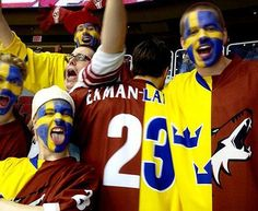 Friends of Oliver Ekman-Larsson, in from Sweden at the Coyotes game tonight.
