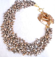 Statement necklace with beige keishi pearls multistrand charming necklace with enamel swarowski rose