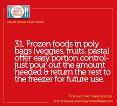 Today is Day 31 - the last day of #MarchFrozenFoodMonth! We love everything that frozen food has to offer, especially the easy portion control.