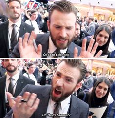 Chris Evans trying to get out of signing Thor's hammer.