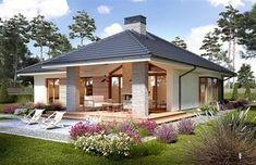 Miriam V - Dobre Domy Flak & Abramowicz Beautiful House Plans, Beautiful Homes, Future House, My House, Plan Chalet, Modern Bungalow House, Modern Bungalow Exterior, Bungalows, Sweet Home
