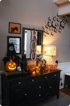 Foyer Decor- BOO on mirror, bats on wall