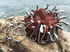 The Inferno Necklace. Artisan Sterling Silver Red от rocksnbeads