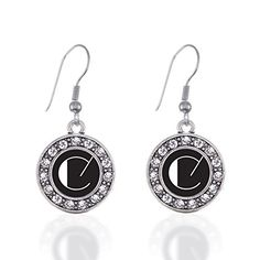 Inspired Silver My Vintage Initials  Letter C Circle Charm French Hook Earrings >>> Read more  at the image link. Note:It is Affiliate Link to Amazon.