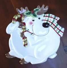 """FITZ & FLOYD 9"""" CANAPE or COOKIE PLATE ESSENTIALS PLAID CHRISTMAS REINDEER TRAY #FitzFloyd"""