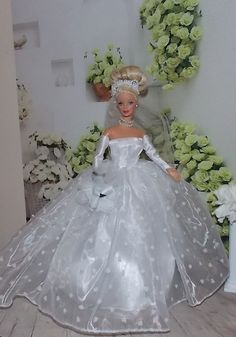 """Handmade Barbie Clothes """"Love is in the Air""""   A bridal ensemble  complete with wedding dress, veil, bouquet and glovetts for Barbie"""