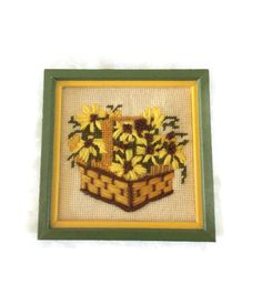 Vintage Crewel Picture Sunflower Flower Wall Hanging Needlepoint Artwork 70s Decor 1970s Wall Hanging Art Crewel Art Floral Daisies Daisy by GoodLuxeVintage on Etsy