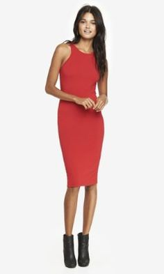 Love this length and the quasi halter top MIDI SHEATH DRESS from EXPRESS