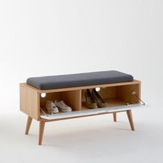 Jimi Entrance Bench - Size: One Size - bench Hall Furniture, Home Decor Furniture, Furniture Design, Shoe Bench, Bench With Shoe Storage, Mid Century Modern Design, Furniture Inspiration, White Wood, Interior Decorating