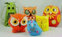 Colorful Vintage Owl Collection.