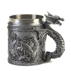 This medieval-inspired mug is the most intimidating way to keep your items in order as a serpentine dragon guards your writing quills or your collection of coins stored within. Fully decorated with dr