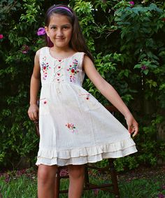Loving this Natural Floral Embroidered Lily Dress - Infant, Toddler & Girls on #zulily! #zulilyfinds