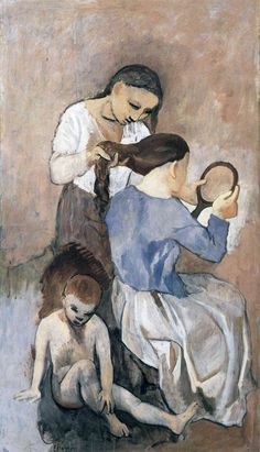 Hairdressing, 1906 - Pablo Picasso http://www.wikipaintings.org/en/pablo-picasso/hairdressing-1906