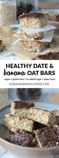 These healthy vegan date banana oat bars are oil-free, gluten-free and have no added sugar. Top with dairy-free chocolate chips for a special treat! Easy to make in one bowl, make a great grab-n-go breakfast, healthy snack or dessert. Banana Oatmeal Bars, Vegan Desserts, Dessert Recipes, Cake Recipes, Granola Barre, Vegan Dating, Dairy Free Chocolate Chips, Boite A Lunch, Baked Banana