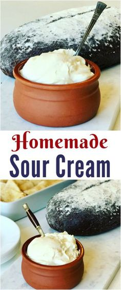 Homemade Sour Cream Easy to make authentic no thickeners and full of probiotics. These are some of the reasons to make your own Russian Homemade Sour Cream or Smetana (Сметана). How to make sour cream. Make Sour Cream, Homemade Sour Cream, Substitute For Sour Cream, Mexican Sour Cream, How To Make Cream, Sour Cream Cake, No Dairy Recipes, Cream Recipes, Cooking Recipes