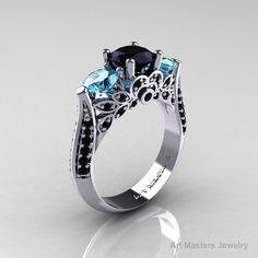 14K White Gold Three Stone Black Diamond Blue door DesignMasters, $1249.00