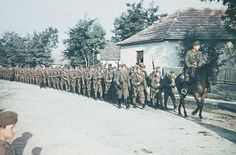 Hungarian infantry marching through a village Luftwaffe, Eastern Front Ww2, War Of Attrition, Austrian Empire, Germany Ww2, Armed Forces, World War Ii, Wwii, Army