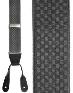 Grey Checkers Suspenders - SuspendersInStock.com