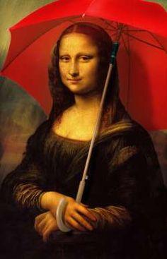 Mona Lisa sous un parapluie rouge - Parodie de La Joconde Mona Lisa under a red umbrella - Parody of the Mona Lisa Jm Basquiat, La Madone, Mona Friends, Mona Lisa Parody, Mona Lisa Smile, Umbrella Art, American Gothic, Many Faces, Funny Art