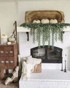 Farmhouse Fall Decor: Love this! Large Dough Bowl with White Pumpkins and Cascading Greenery on a Fireplace Modern Fall Decor, Fall Home Decor, Autumn Home, Fall Entryway Decor, Fall Mantle Decor, Fireplace Decorations, Mantel Ideas, Rustic Fall Decor, House Decorations