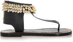 Isabel Marant Jean shell-embellished leather sandals - $442.70