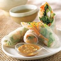 Healthy asian spring rolls  Ingredients  8 8 inches round spring-roll wrappers (available in grocery stores)  2 cups shredded Bibb lettuce  8 ounces fresh or frozen cooked, peeled, and deveined shrimp, coarsely chopped  1 cup shredded carrot  1/4 cup sliced scallion  2 tablespoons chopped fresh cilantro  5 tablespoons bottled peanut sauce  2 tablespoons seasoned rice vinegar