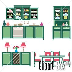 CLIPART OLD GREEN KITCHEN