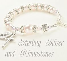 Baby Girl Baptism Personalized Rosary Bracelet with Swarovski and Solid Sterling Silver Letter Bead and Rhinestones