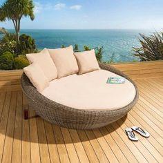 Luxury Round Garden Day Bed / Sofa Mocha Rattan /Beige Cushions, Cover