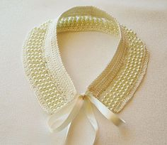 Ivory Pearl Collar Necklace, Pearl and Lace, Detachable Peter Pan Collar, For Women Collar, Best Fri Crochet Collar, Lace Collar, Pearl And Lace, Ivory Pearl, Collar Necklace, Pearl Necklace, Lace Necklace, Bordados Tambour, Peter Pan Necklace