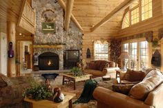 Dream Living Room in Log Cabin Home