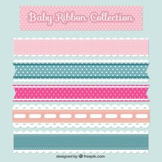 Pack of five flat baby ribbons Free Vector