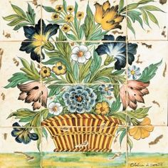 Featuring large basket of flowers, freely inspired to the century master paintings, this Italian tile panel is entirely handmade and hand painted. Tile Murals, Wall Mural, Art Ancien, Italian Tiles, Tile Panels, Italian Pottery, Handmade Tiles, Decorative Tile, Flower Basket