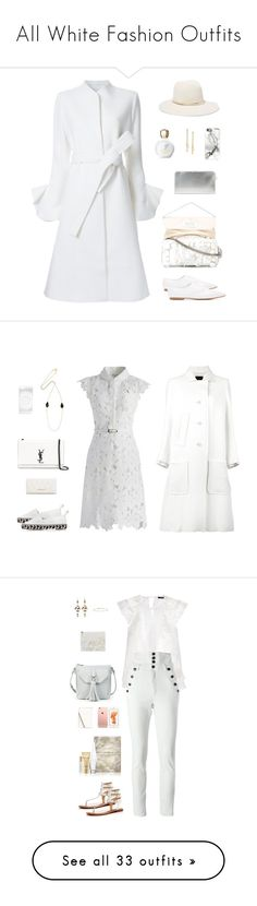 """""""All White Fashion Outfits"""" by sol4ange ❤ liked on Polyvore featuring Goen.J, Junya Watanabe, Maison Margiela, Versace, Janessa Leone, Chloé, Adrienne Vittadini, Casetify, Isabel Marant and Proenza Schouler"""