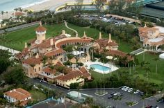 Mar-A-Lago, built 1924-1927, is the name of the Palm Beach, Florida estate built by Marjorie Merriweather Post with her (then) husband, Edward F. Hutton. Now home to the Mar-A-Lago Club, the 126-room, 110,000 sq ft estate is owned by Donald Trump. Trump paid $5 million for the estate in 1985, said to be worth in excess of $250 million. After acquiring the property in 1985, Trump had the property renovated, with 58 bedrooms, 33 bathrooms, & a 29-foot-long pietra dura marble top dining table.