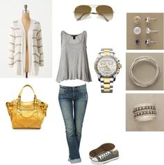 Grey, White and Yellow, created by rhiannedbutler on Polyvore