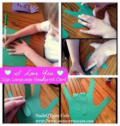 I Love You - sign language handprint craft - Kids Craft for Valentine's Day