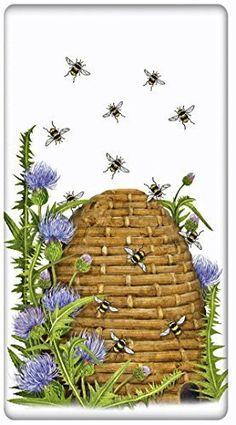 "Beehive And Thistles Flour Sack Cotton Kitchen Dish Towel - 30"" x 30"" Mary Lake Thompson design"