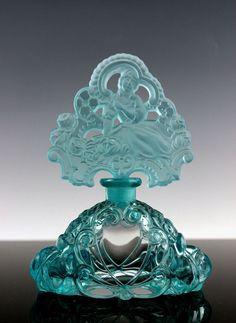 bohemian perfume bottles   Fabulous Bohemian Art Deco Aquamarine Glass Perfume Bottle