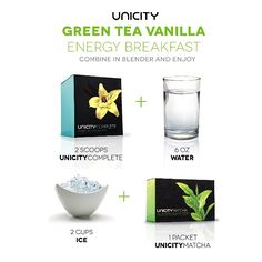 For best all day long strong energy Mix UNICITY COMPLETE VANILLA with water + ice cubes + UNICITY MATCHA ENERGY.  To purchase UNICITY PRODUCTS, follow the link to our store : http://shop.unicity.com/core-products/?ref=96964802 Enjoy!!!