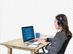 New Macbook Mockup of a Woman Listening to Music