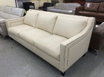 "Elite Leather Carol Sofa - Champagne White  87"" x 38"" x 35""  Made in USA. Furniture Now 508-892-8412 http://Furniturenow.mobi"